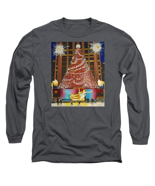 Long Sleeve T-Shirt featuring the painting Christmas In The City by Donna Blossom