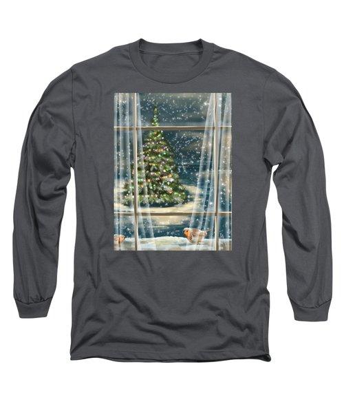 Christmas Night Long Sleeve T-Shirt by Veronica Minozzi