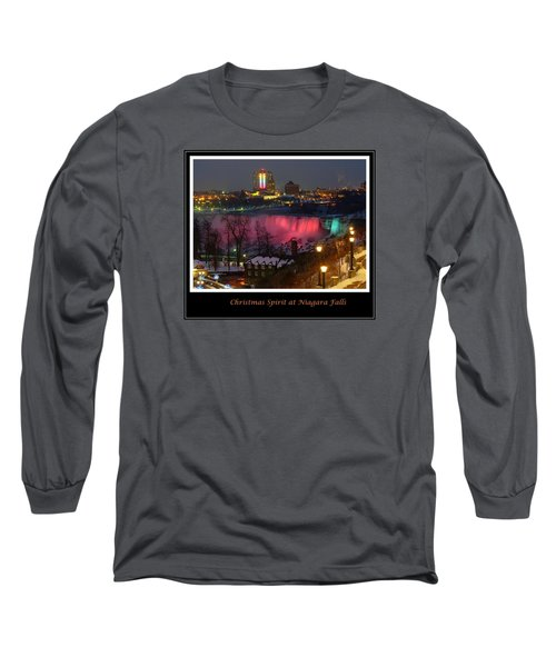 Christmas Spirit At Niagara Falls - Holiday Card Long Sleeve T-Shirt