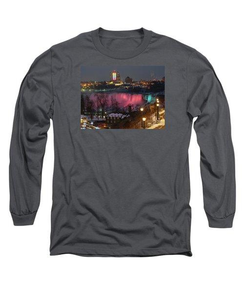 Long Sleeve T-Shirt featuring the photograph Christmas Spirit At Niagara Falls by Lingfai Leung
