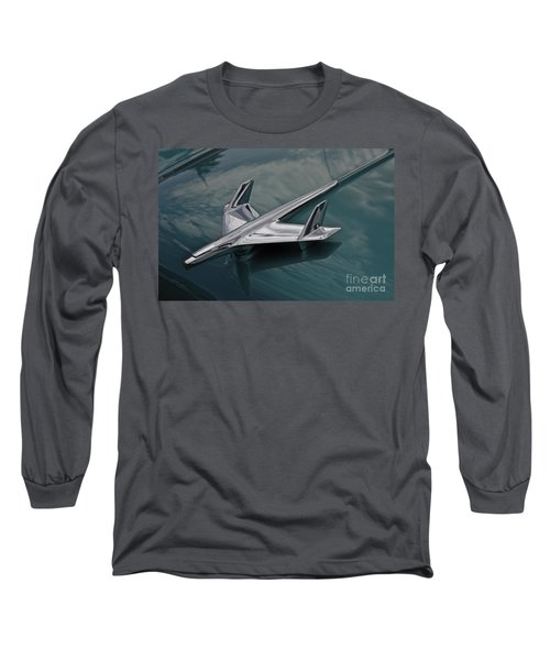 Chrome Airplane Hood Ornament Long Sleeve T-Shirt by Linda Bianic