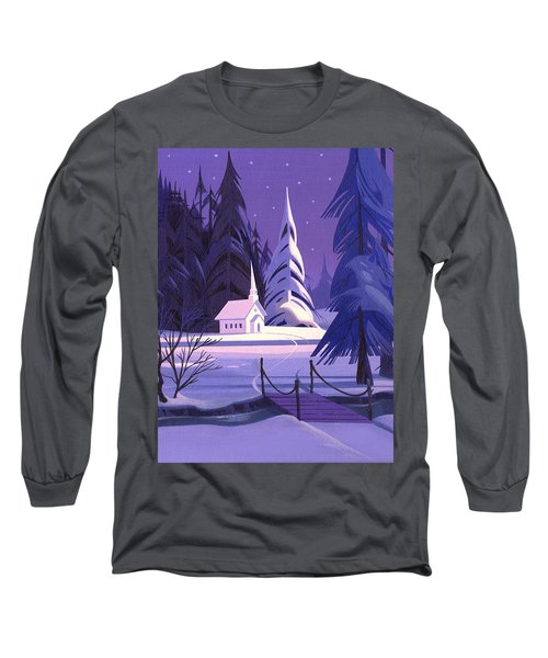 Church In Snow Long Sleeve T-Shirt by Michael Humphries