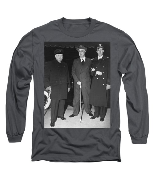 Churchill And Roosevelt Long Sleeve T-Shirt by Underwood Archives