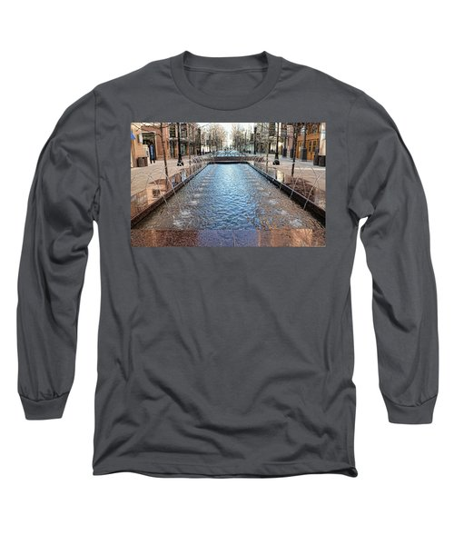 Long Sleeve T-Shirt featuring the photograph City Creek Fountain - 1 by Ely Arsha