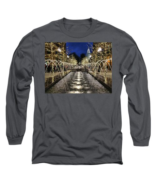 Long Sleeve T-Shirt featuring the photograph City Creek Fountain - 2 by Ely Arsha
