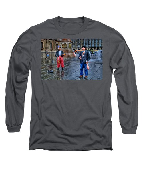 Long Sleeve T-Shirt featuring the photograph City Jugglers by Ron Shoshani
