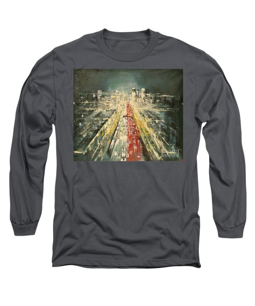 Long Sleeve T-Shirt featuring the painting City Of Paris by Maja Sokolowska