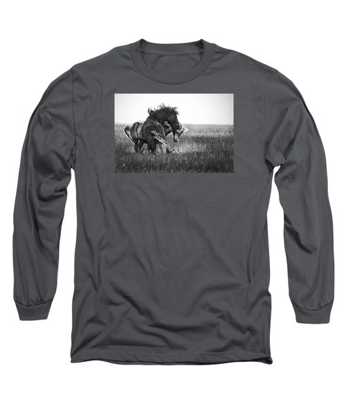 Long Sleeve T-Shirt featuring the photograph Clash Of Two Wild Stallions by Bob Decker