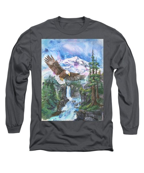 Long Sleeve T-Shirt featuring the painting Cleared For Landing Mount Baker by Sherry Shipley
