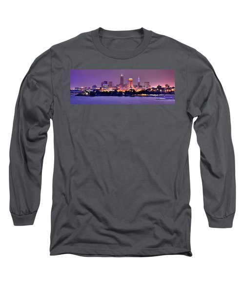 Cleveland Skyline At Night Evening Panorama Long Sleeve T-Shirt by Jon Holiday