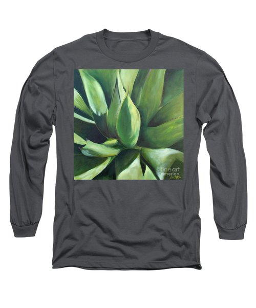 Close Cactus II - Agave Long Sleeve T-Shirt by Debbie Hart