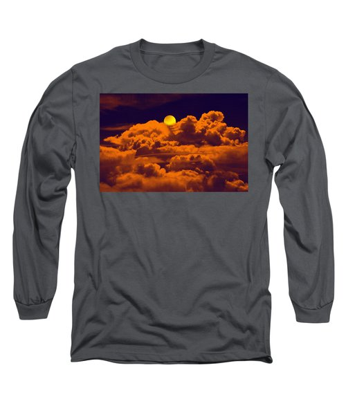 Long Sleeve T-Shirt featuring the digital art Clouds And The Moon by Bliss Of Art