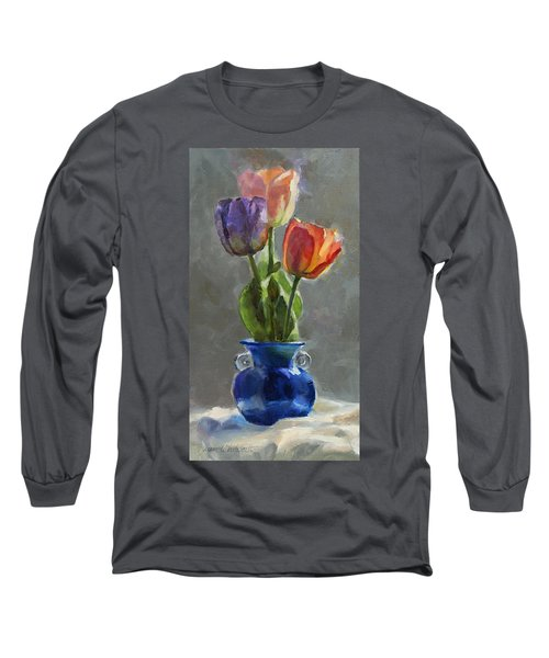 Cobalt And Tulips Still Life Painting Long Sleeve T-Shirt