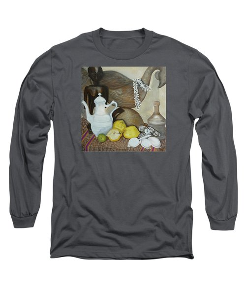 Long Sleeve T-Shirt featuring the painting Coffee Pot by Helen Syron