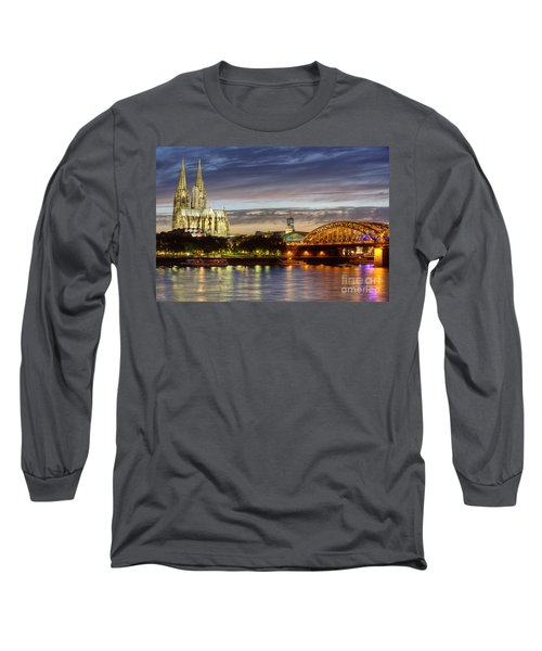 Cologne Cathedral With Rhine Riverside Long Sleeve T-Shirt by Heiko Koehrer-Wagner