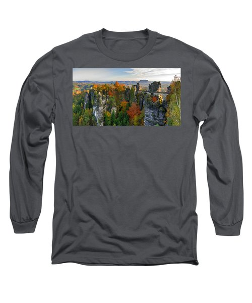 Colorful Bastei Bridge In The Saxon Switzerland Long Sleeve T-Shirt