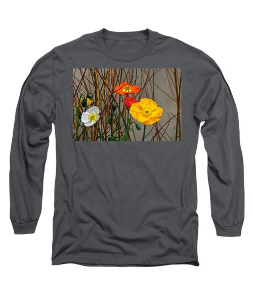 Colorful Poppies And White Willow Stems Long Sleeve T-Shirt