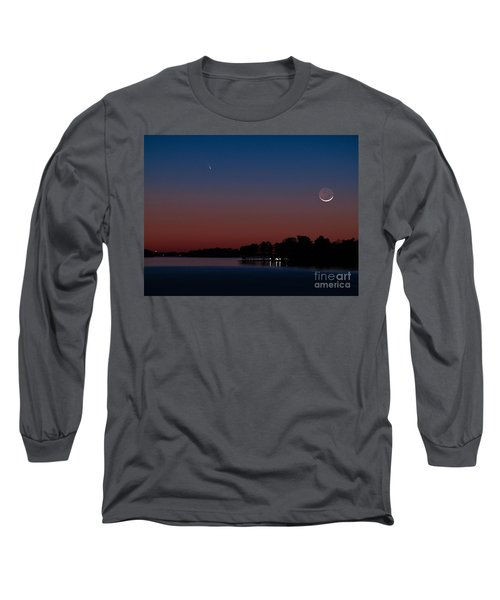 Comet Panstarrs And Crescent Moon Long Sleeve T-Shirt by Charles Hite