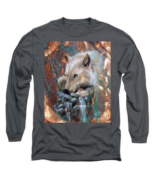 Copper Arctic Wolf Long Sleeve T-Shirt by Sandi Baker