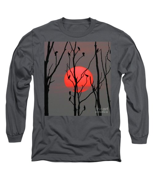 Cormorants At Sunrise Long Sleeve T-Shirt by Roger Becker
