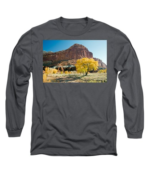 Cottonwoods In Fall The Castlecapitol Reef National Park Long Sleeve T-Shirt
