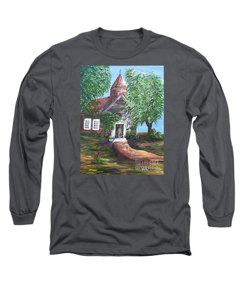Long Sleeve T-Shirt featuring the painting Country Church by Eloise Schneider