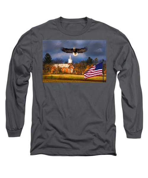country Eagle Church Flag Patriotic Long Sleeve T-Shirt