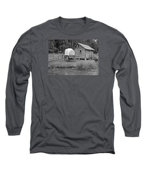 Covered Wagon Near Log Cabin Black And White Long Sleeve T-Shirt