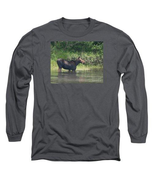 Cow Moose Breakfast Long Sleeve T-Shirt by Neal Eslinger