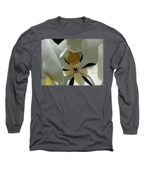 Long Sleeve T-Shirt featuring the photograph Coy Magnolia by Caryl J Bohn