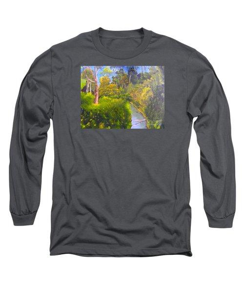 Creek In The Bush Long Sleeve T-Shirt by Pamela  Meredith