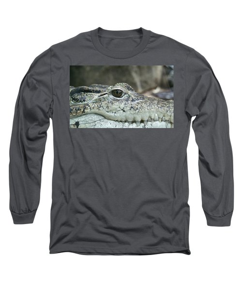 Long Sleeve T-Shirt featuring the photograph Crocodile Animal Eye Alligator Reptile Hunter by Paul Fearn