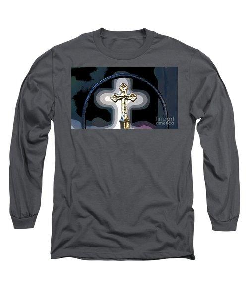 Long Sleeve T-Shirt featuring the photograph Cross On Lacombe Louisiana Cemetery by Luana K Perez