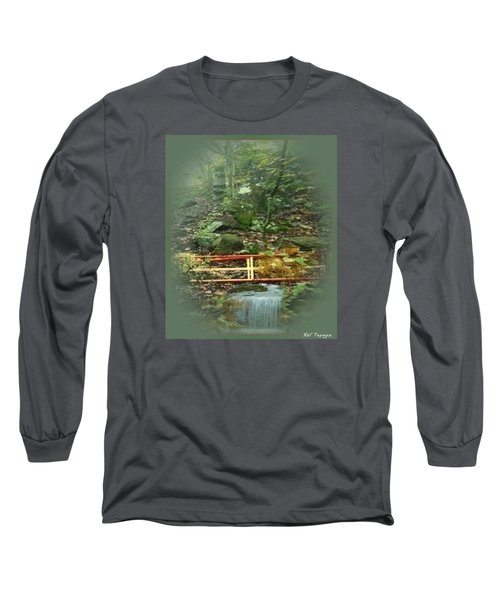 Long Sleeve T-Shirt featuring the mixed media A Bridge To Cross by Ray Tapajna