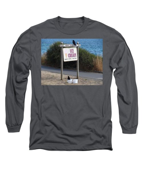 Long Sleeve T-Shirt featuring the photograph Crow In The Bucket by Cheryl Hoyle