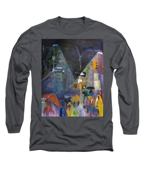 Crowded Intersection Long Sleeve T-Shirt by Leela Payne