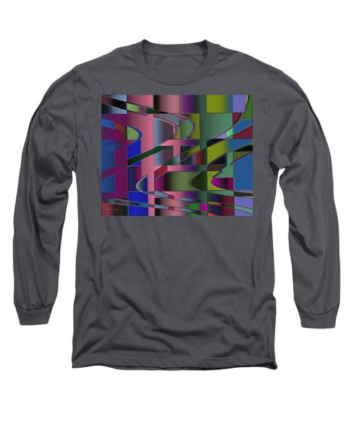 Long Sleeve T-Shirt featuring the digital art Curves And Trapezoids 3 by Judi Suni Hall