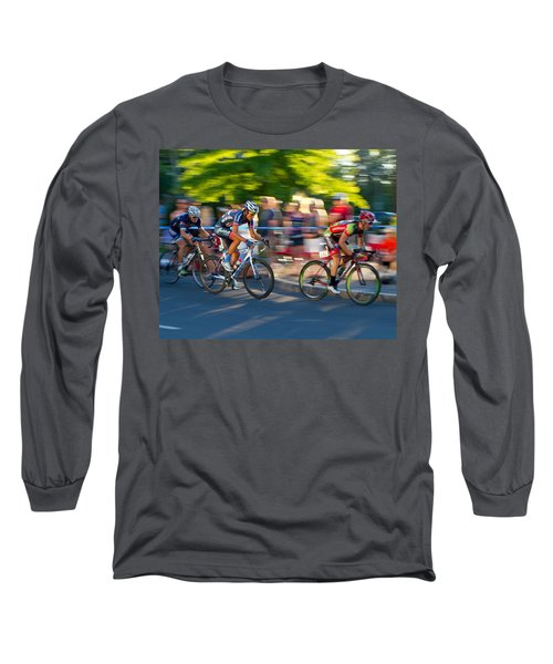 Cycling Pursuit Long Sleeve T-Shirt by Kevin Desrosiers