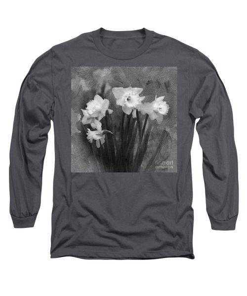Daffodils In Black And White Long Sleeve T-Shirt
