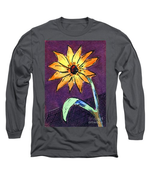 Daisy On Dark Background Long Sleeve T-Shirt
