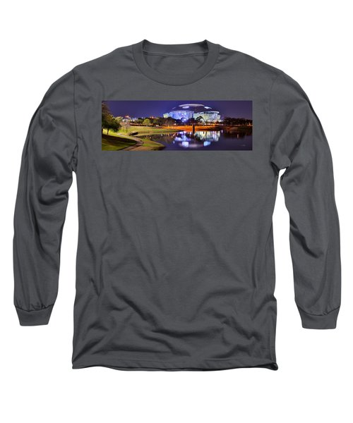 Dallas Cowboys Stadium At Night Att Arlington Texas Panoramic Photo Long Sleeve T-Shirt by Jon Holiday