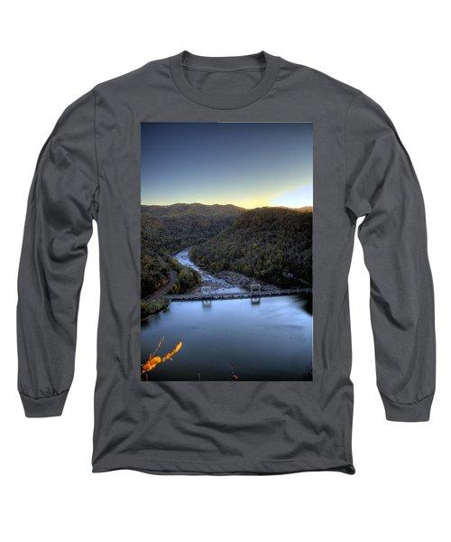 Long Sleeve T-Shirt featuring the photograph Dam Across The River by Jonny D