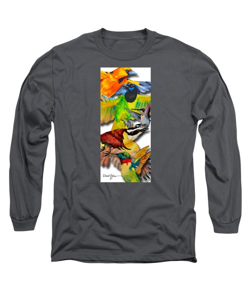 Da131 Multi-birds By Daniel Adams Long Sleeve T-Shirt
