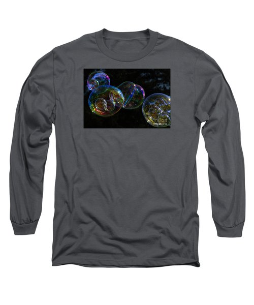 Dark Bubbles With Babies Long Sleeve T-Shirt by Nareeta Martin