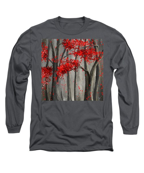 Dark Passion- Red And Gray Art Long Sleeve T-Shirt