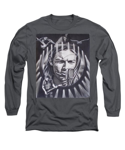 David Gilmour Of Pink Floyd - Echoes Long Sleeve T-Shirt by Sean Connolly