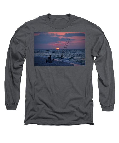 Long Sleeve T-Shirt featuring the photograph Daybreak On Navarre Beach With Deng The Fisherman by Jeff at JSJ Photography