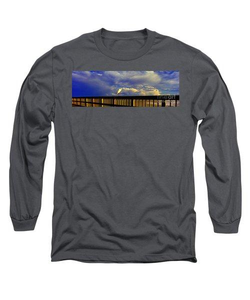 Long Sleeve T-Shirt featuring the photograph Daytona Beach Fl Bird Sun Glow Pier  by Tom Jelen