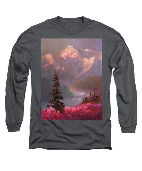 Denali Summer - Alaskan Mountains In Summer Long Sleeve T-Shirt by Karen Whitworth