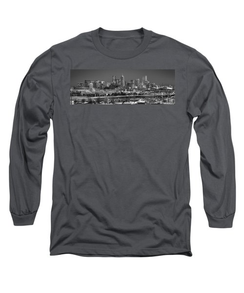 Long Sleeve T-Shirt featuring the photograph Denver Skyline At Dusk Black And White Bw Evening Panorama Broncos Colorado  by Jon Holiday
